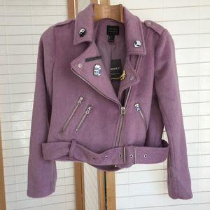 Sz Small NWT pink fur Moto w awesome enamel pins